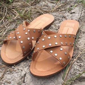 [Dolce Vita] Casta Studded Leather Slide Sandals